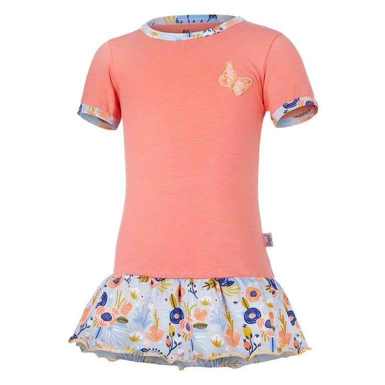 Little Angel Tunika tenká KR set Outlast® - tm.coral/sv.šedá kvítí