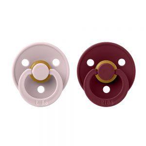 BIBS COLOUR dudlíky z přírodního kaučuku 2ks vel.2, Pink Plum / Elderberry