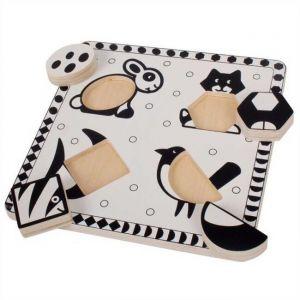 Bigjigs Toys Dřevěné vkládací puzzle černobílé tvary 2