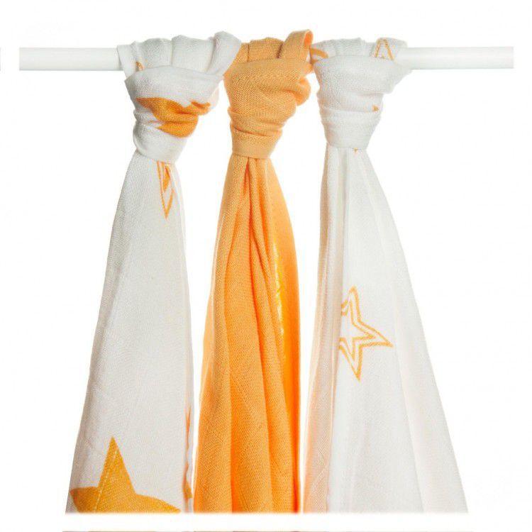 Bambusové pleny KIKKO Orange Stars MIX 70x70cm - 3ks