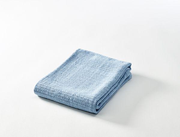 Baby Dan háčkovaná deka bavlněná, 75 x 100 cm, modrá light BabyDan