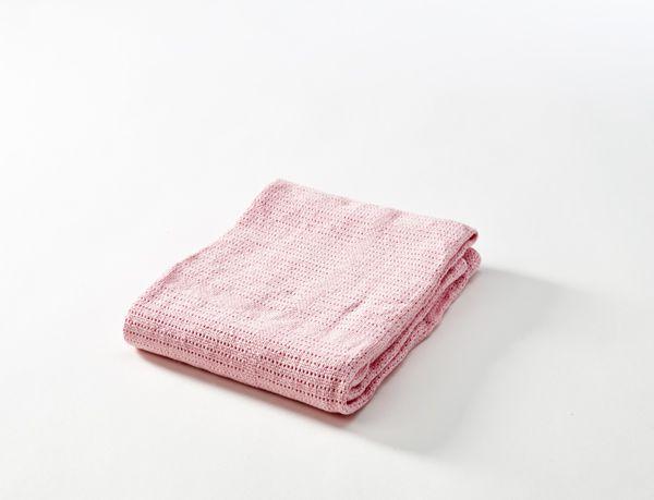 Baby Dan háčkovaná deka bavlněná, 75 x 100 cm, růžová BabyDan