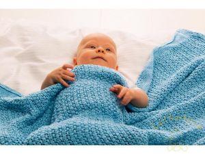 Baby Dan háčkovaná deka bavlněná, 75 x 100 cm, tyrkys BabyDan