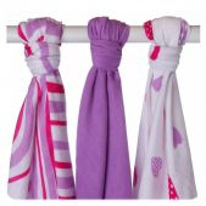 Zvětšit fotografii - Bambusové pleny KIKKO Hearts&Wawes Lilac Mix, 3ks
