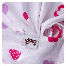 Bambusové pleny KIKKO Hearts&Wawes Lilac 70x70cm - 3ks