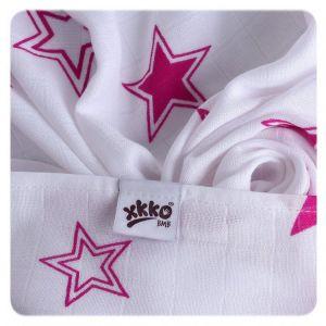 Bambusové pleny KIKKO Magenta Stars MIX 70x70cm - 3ks