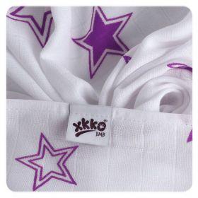 Bambusová osuška XKKO®BMB Lilac Stars 90x100cm - 1ks Kikko